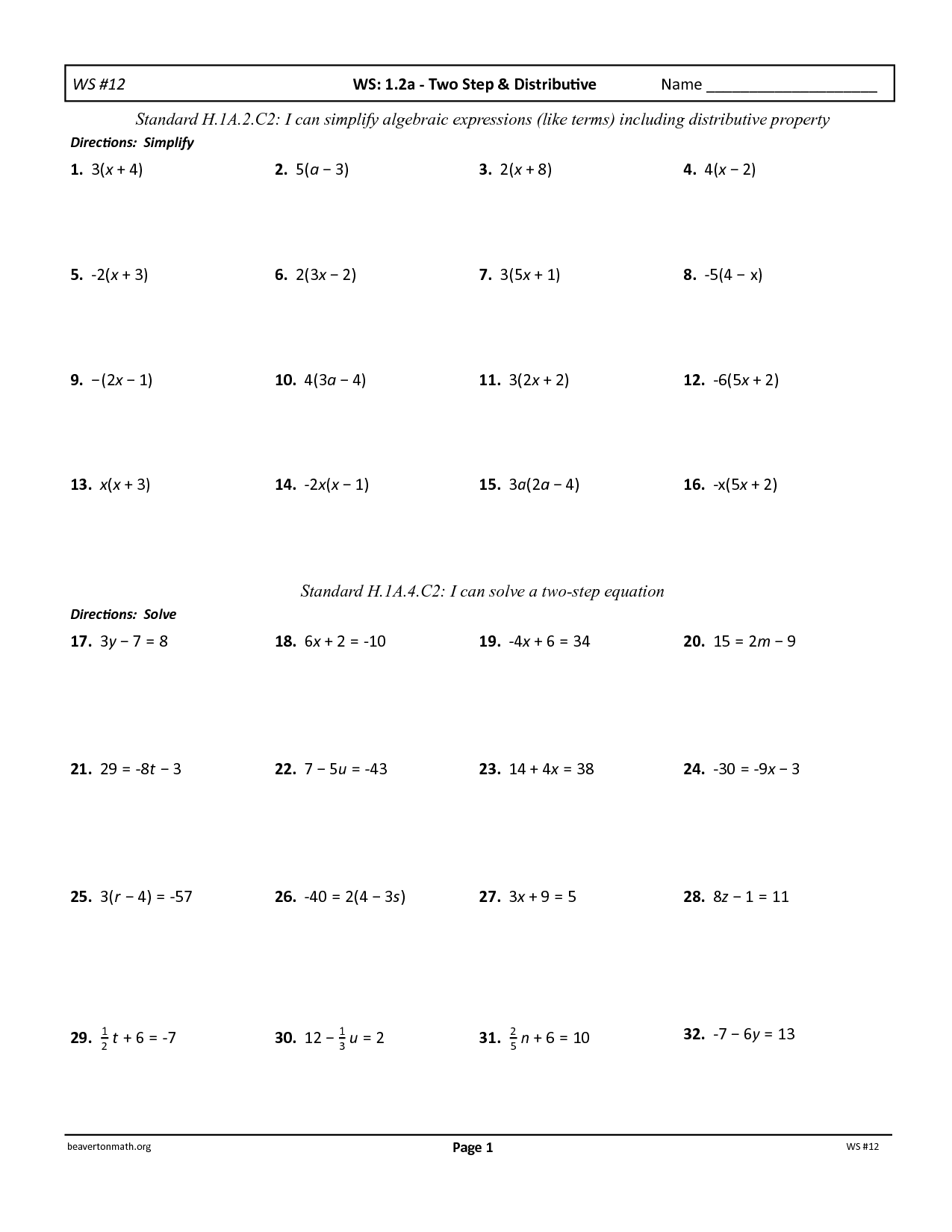 14 Best Images Of Two Step Equation Maze Worksheet