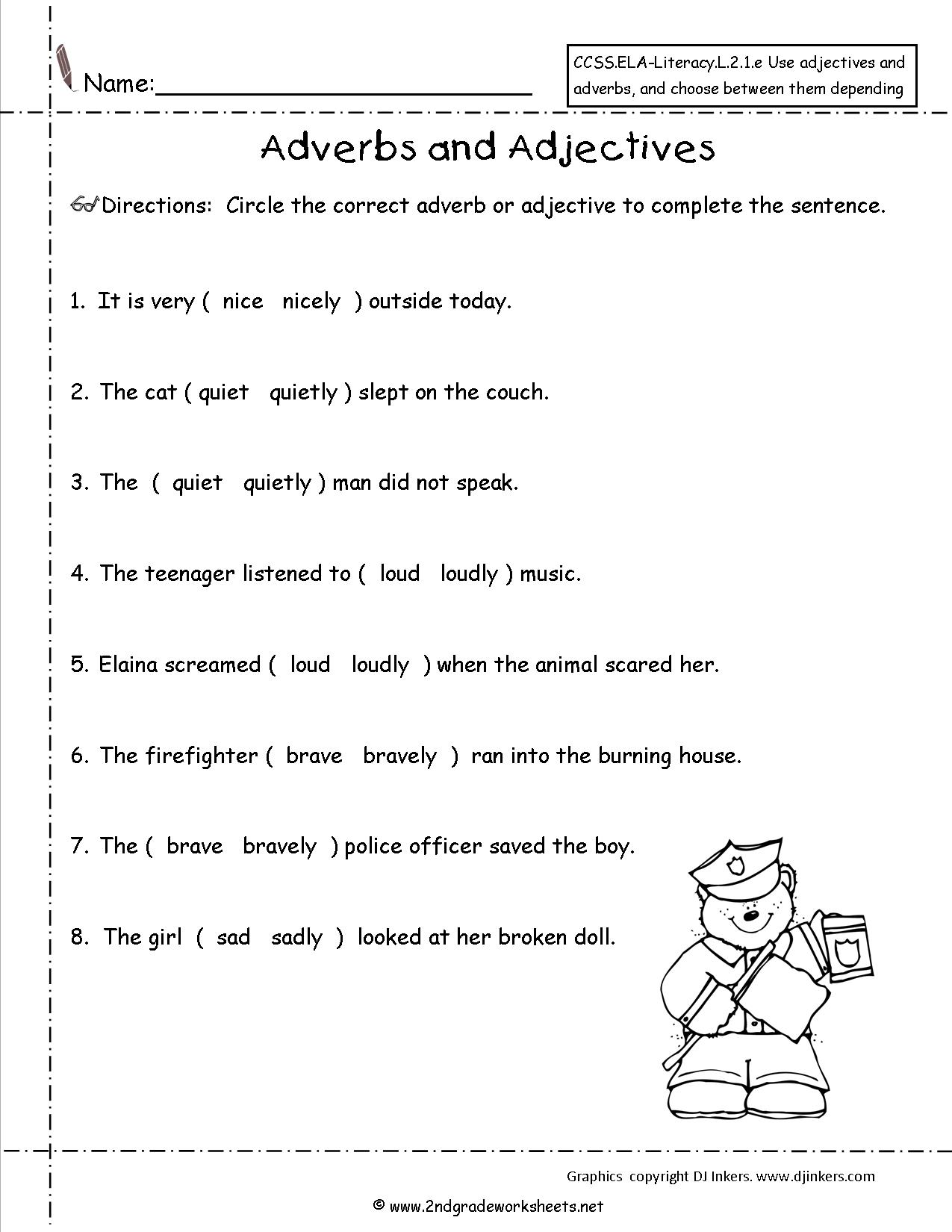 Adverb Christmas Worksheet