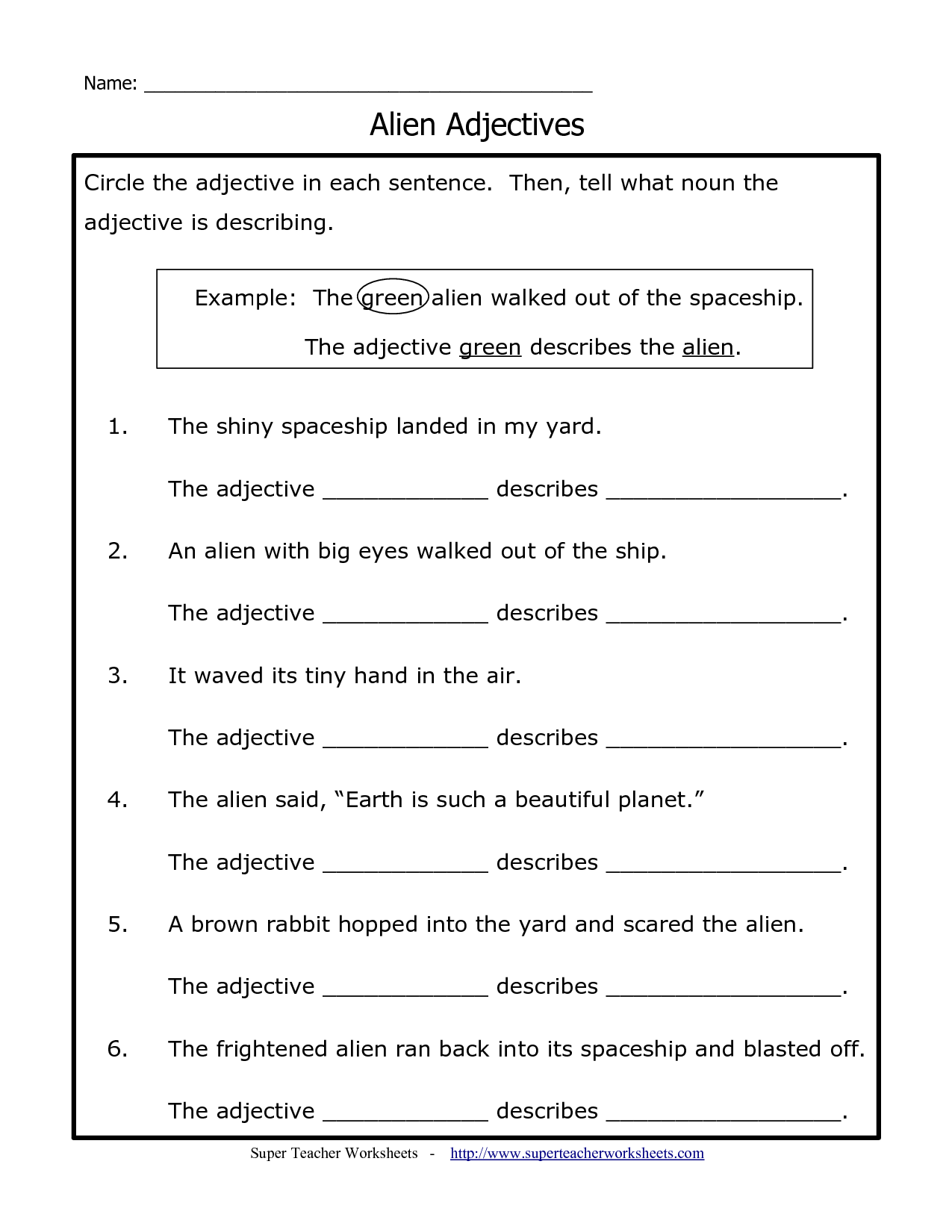 Printable Adjective Worksheet For 2nd Grade