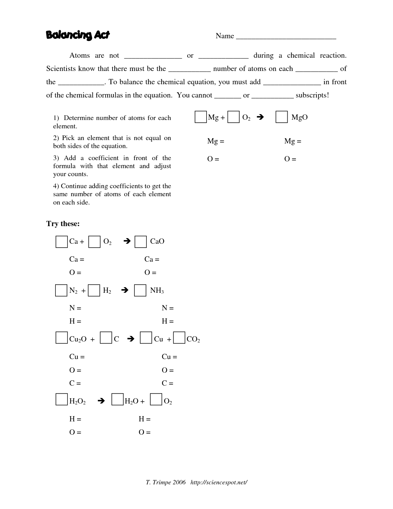 6 Best Images Of Chemistry Balancing Equations Worksheet