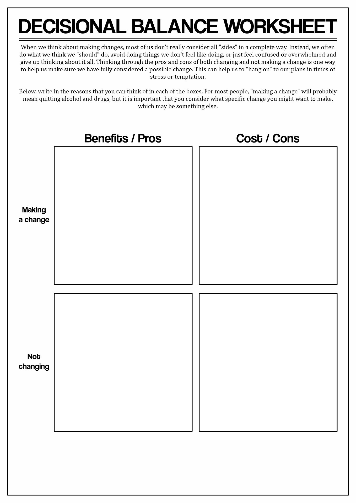 Change Motivational Interviewing Worksheet