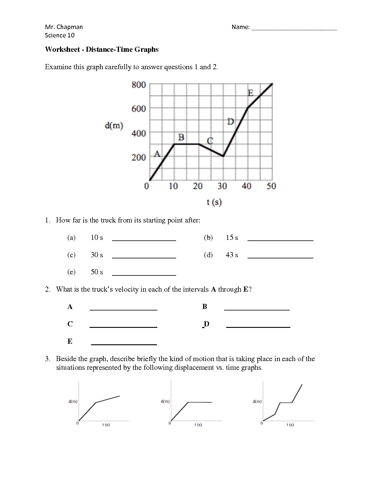 Speed Vs Time Graph Worksheet