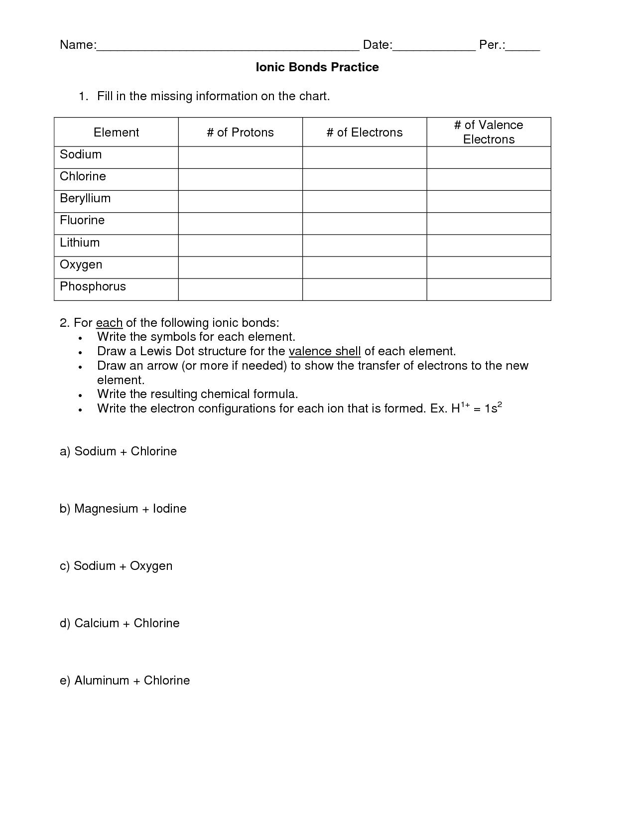 Chemical Bonds Ionic Bonds Worksheet Answers