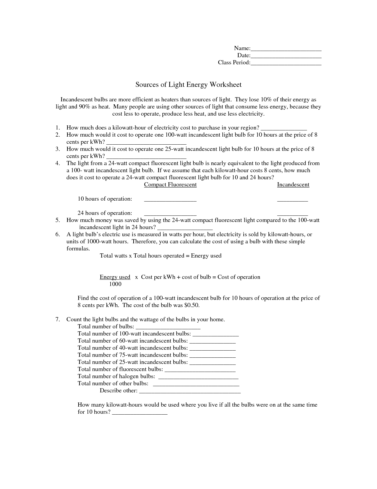 13 Best Images Of Light Energy Sources Worksheet