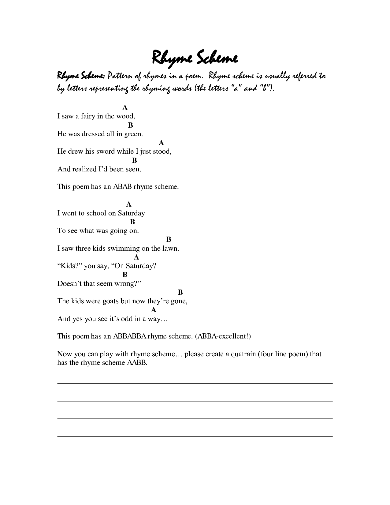 18 Best Images Of Sonnet Pattern Worksheet