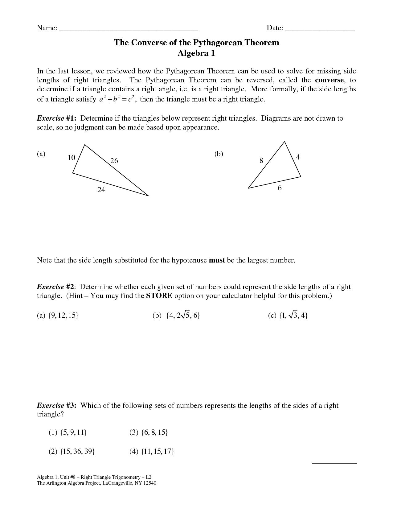 Worksheet On Pythagorean Theorem Printables