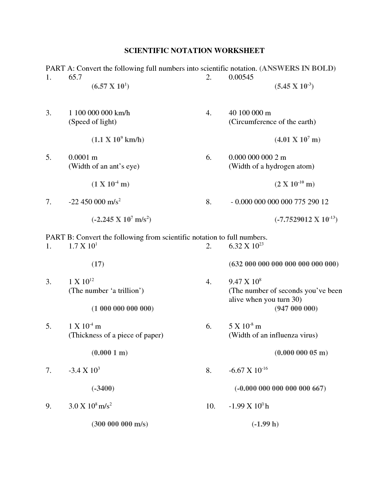 Math Worksheet Scientific Notation