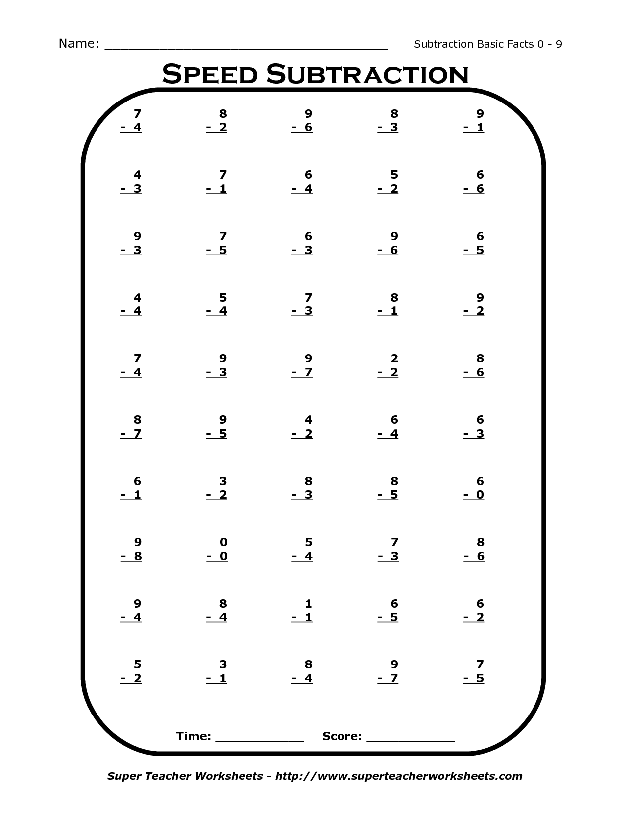 14 Best Images Of 1st Grade Mad Minutes Subtraction Worksheets