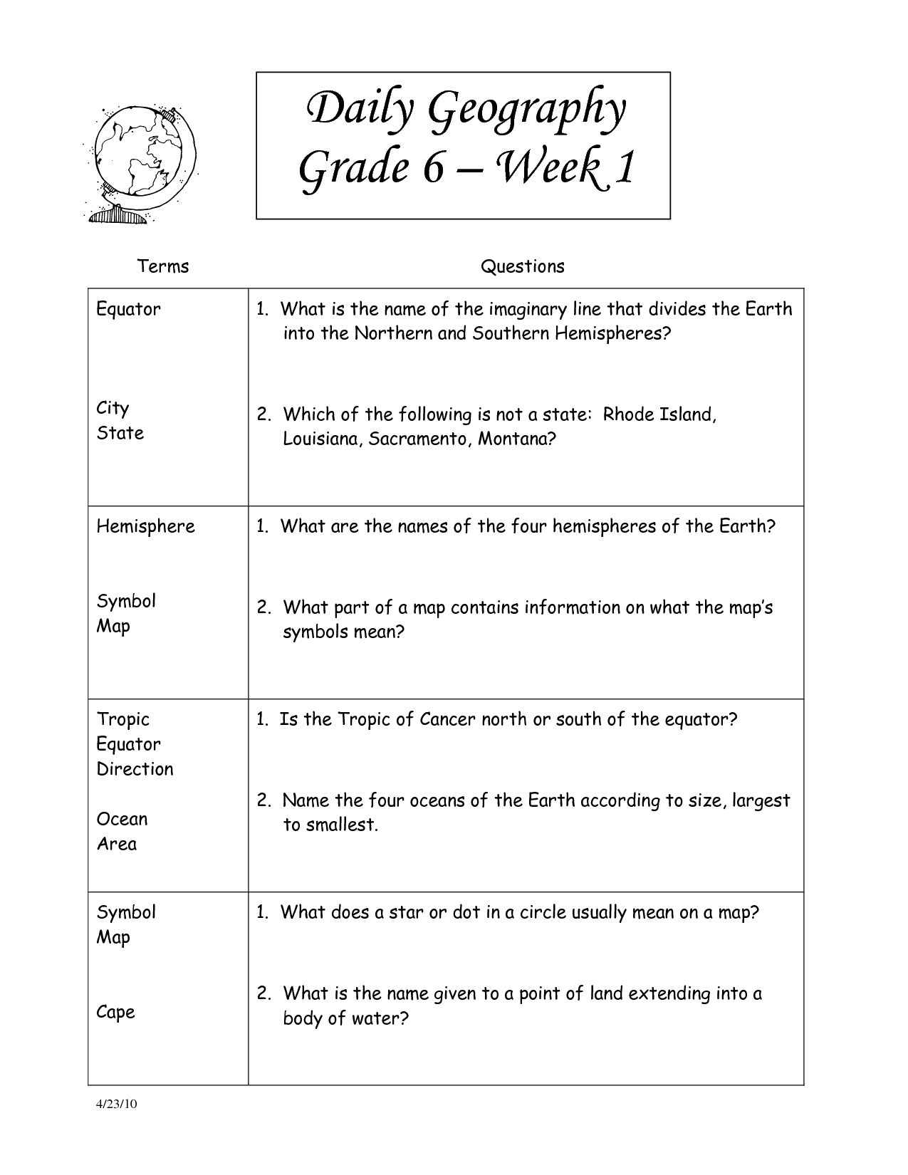 17 Best Images Of 6th Grade History Worksheets