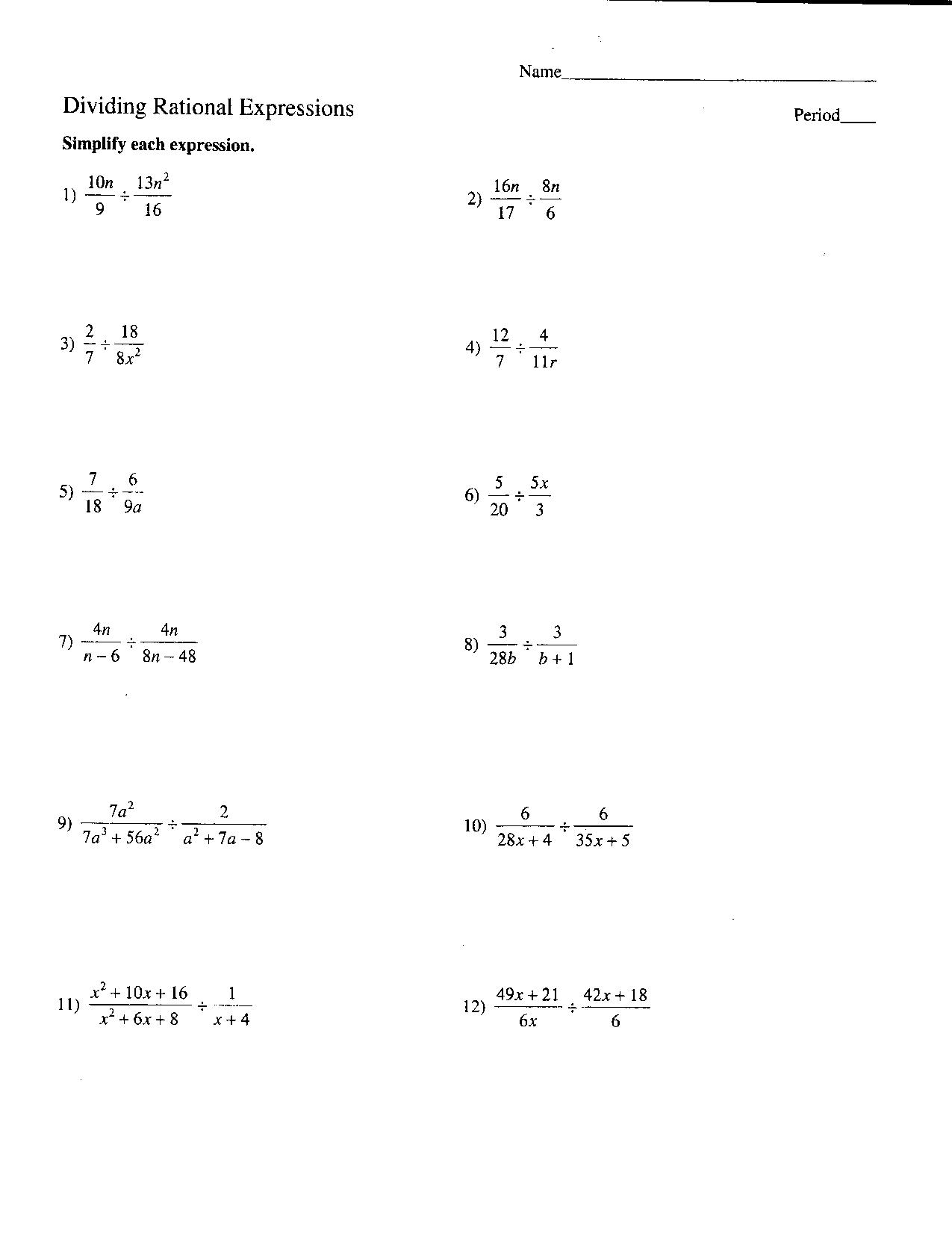 14 Best Images Of Simplifying Expressions Worksheets 7th