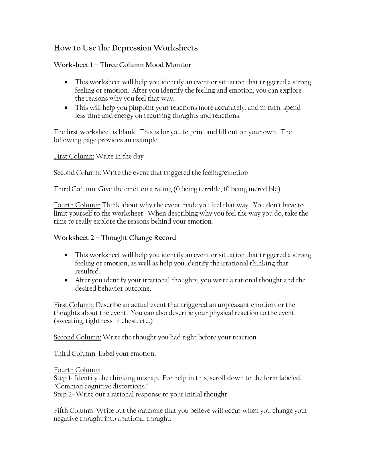 Depression Worksheets For Therapist