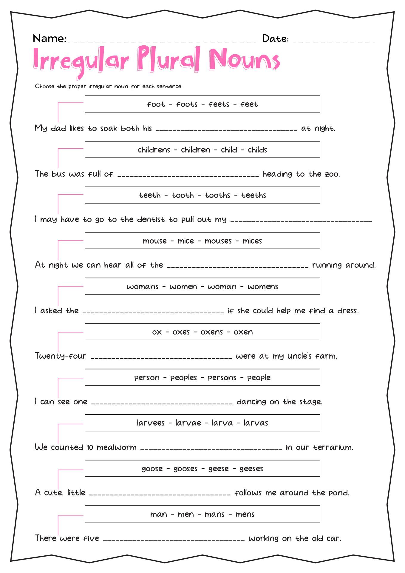 Regular And Irregular Plural Nouns Worksheet