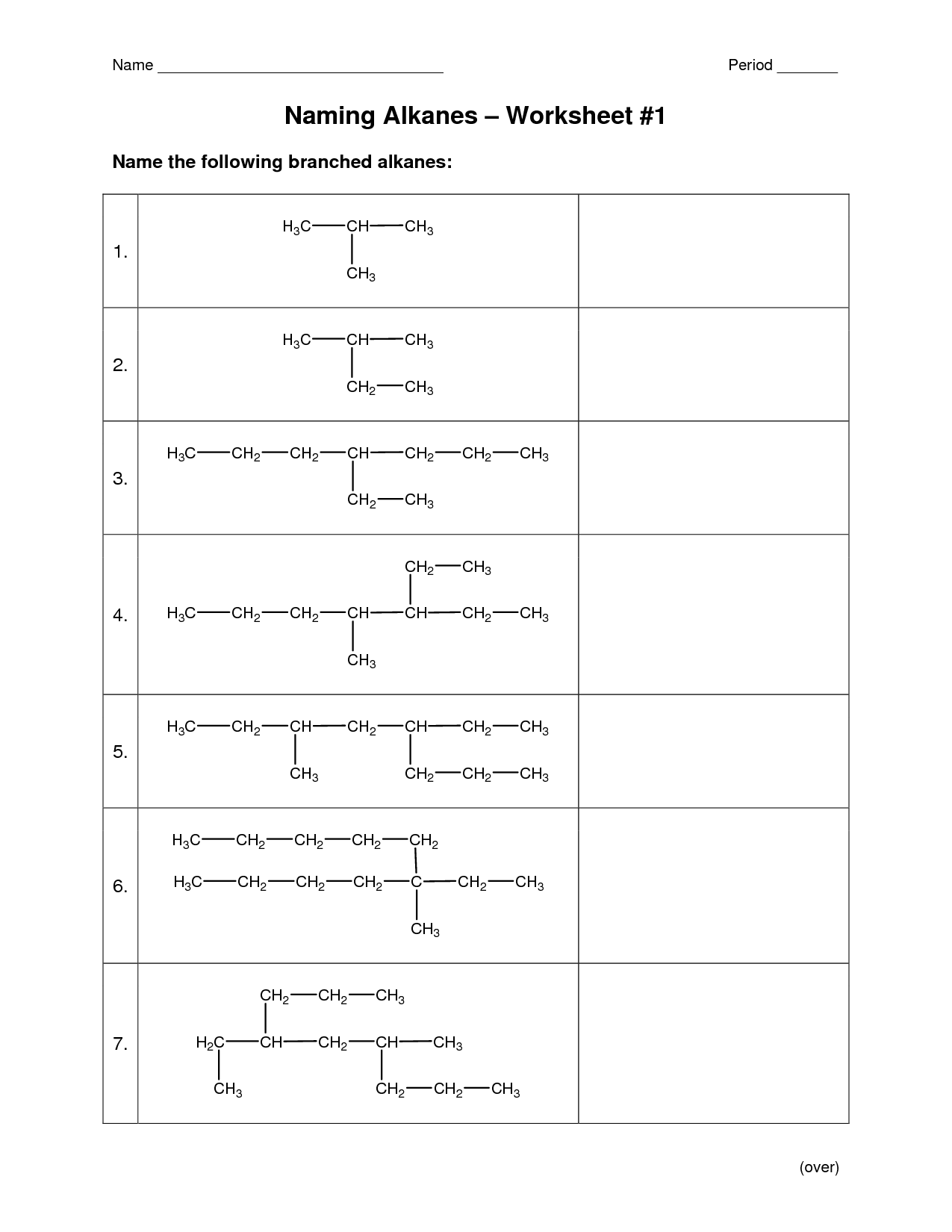Nomenclature Worksheet Answers