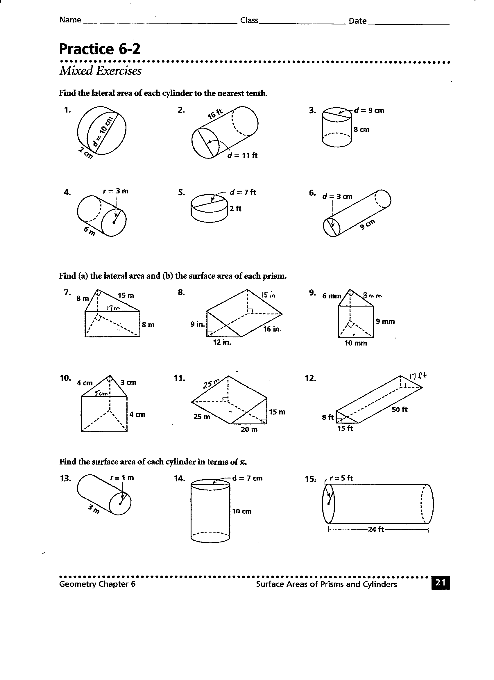 10 Best Images Of Surface Area And Volume Worksheets