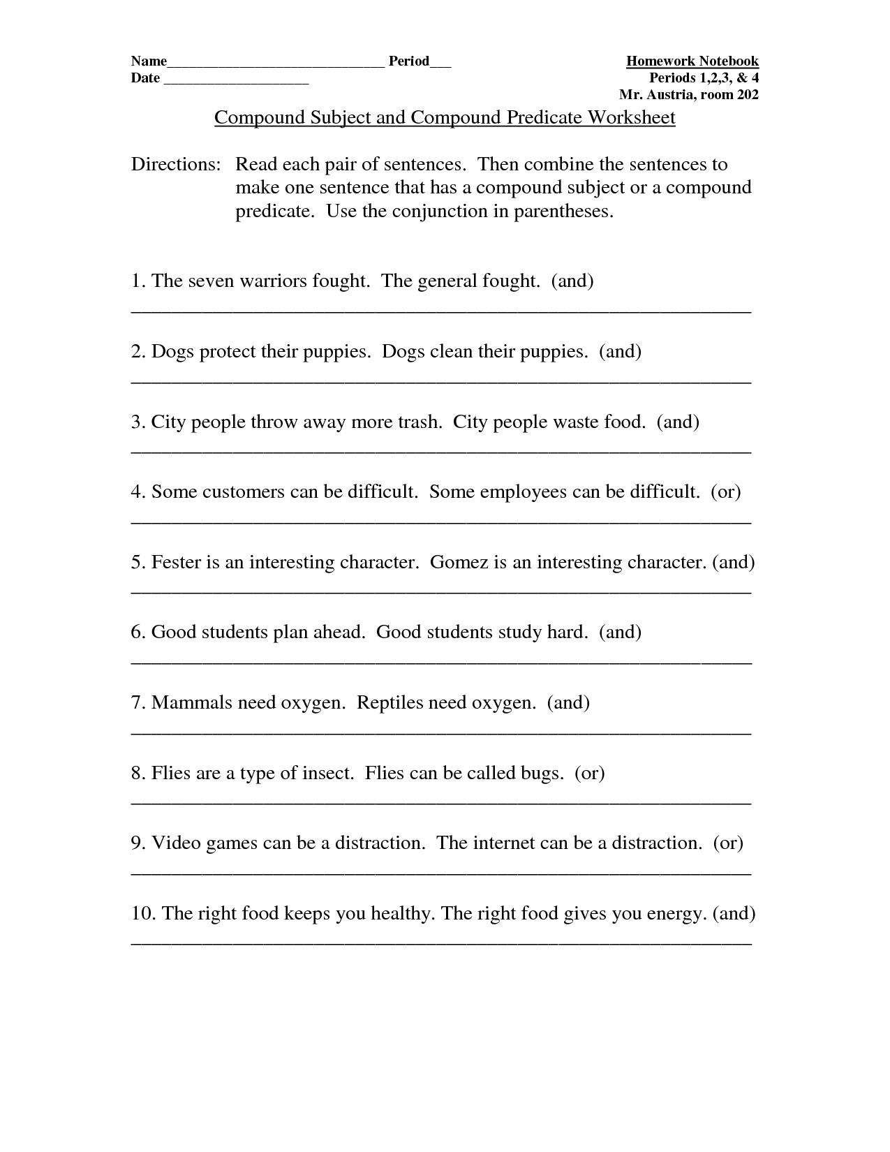 Subject Predicate Worksheet 4th Grade