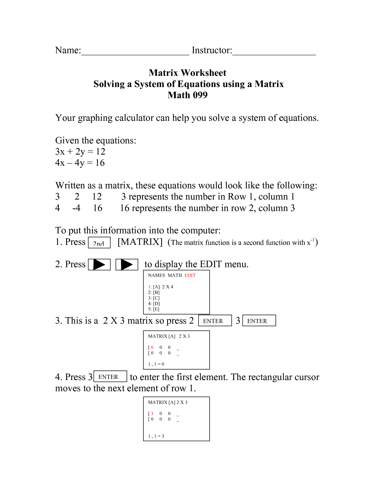 14 Best Images Of Matrix Equations Worksheet