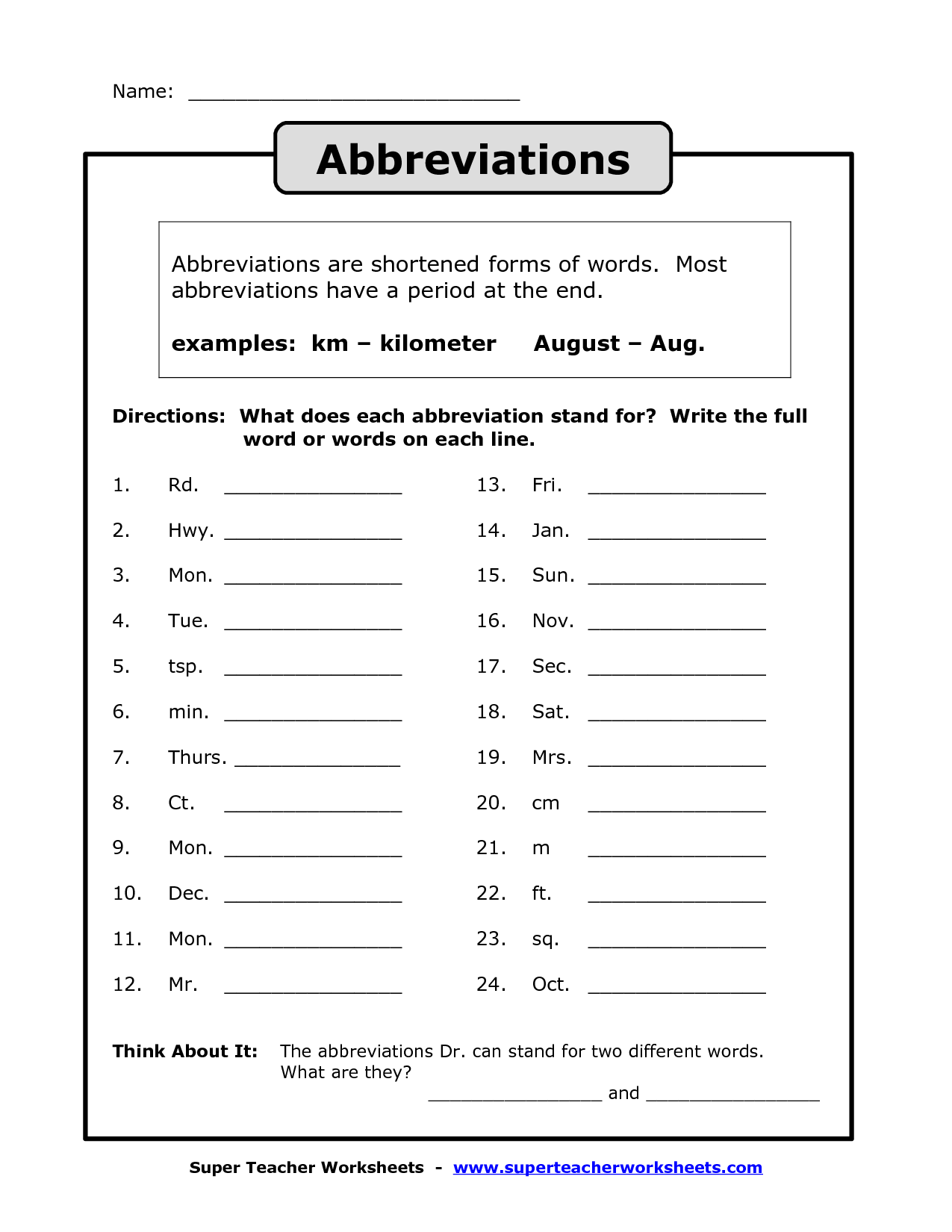 13 Best Images Of Postal State Abbreviations Worksheet