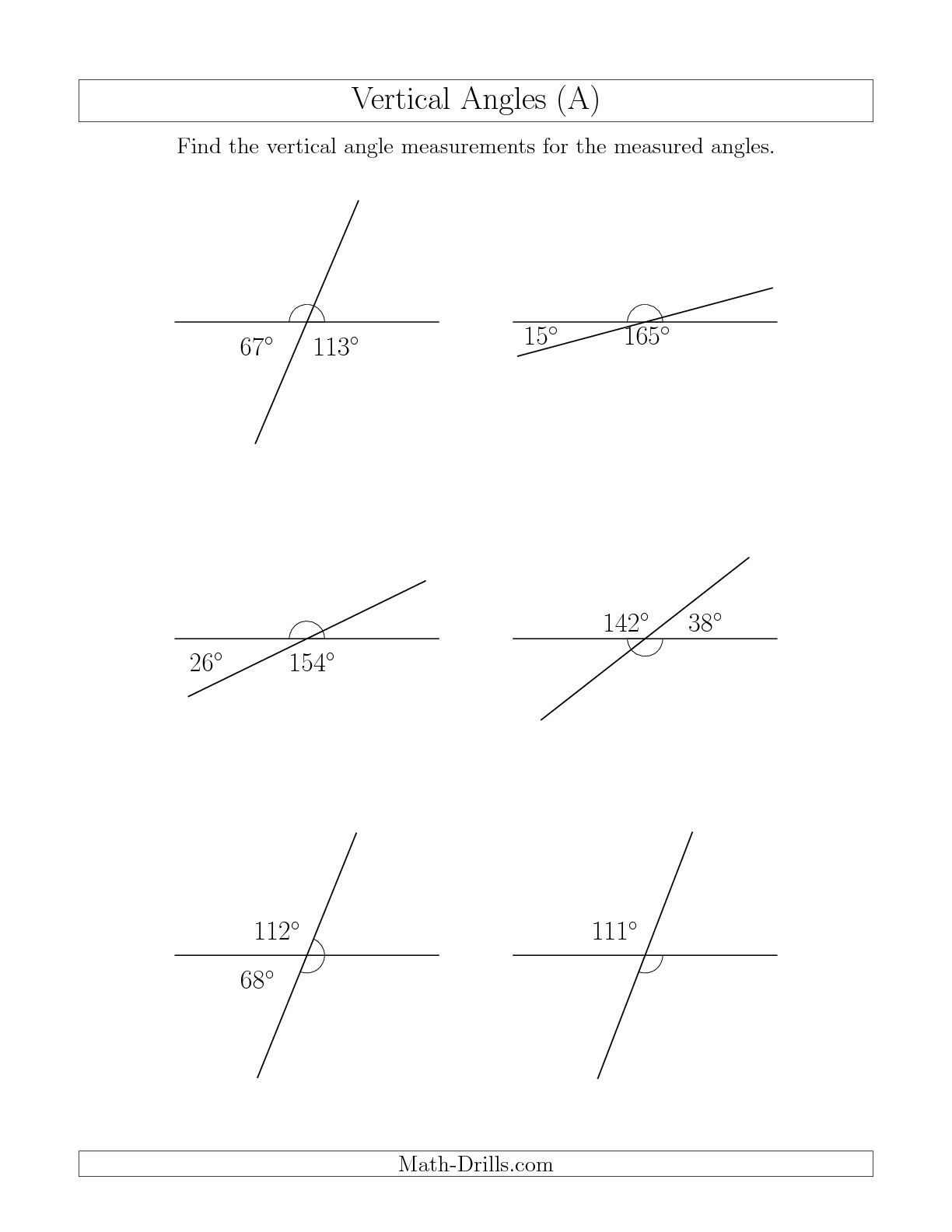 15 Best Images Of Geometry Vertical Angles Worksheet