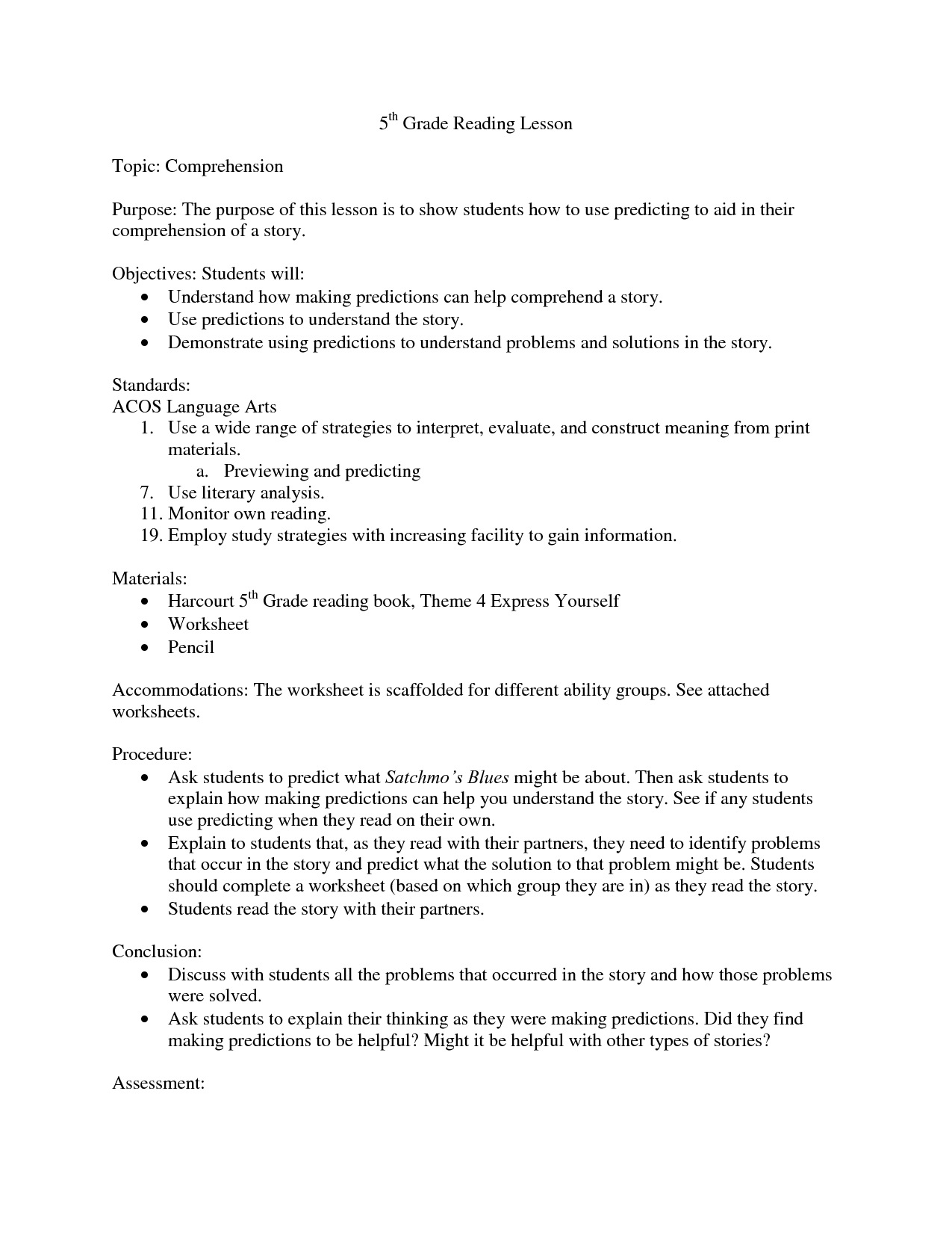 5th Grade English Worksheet Free