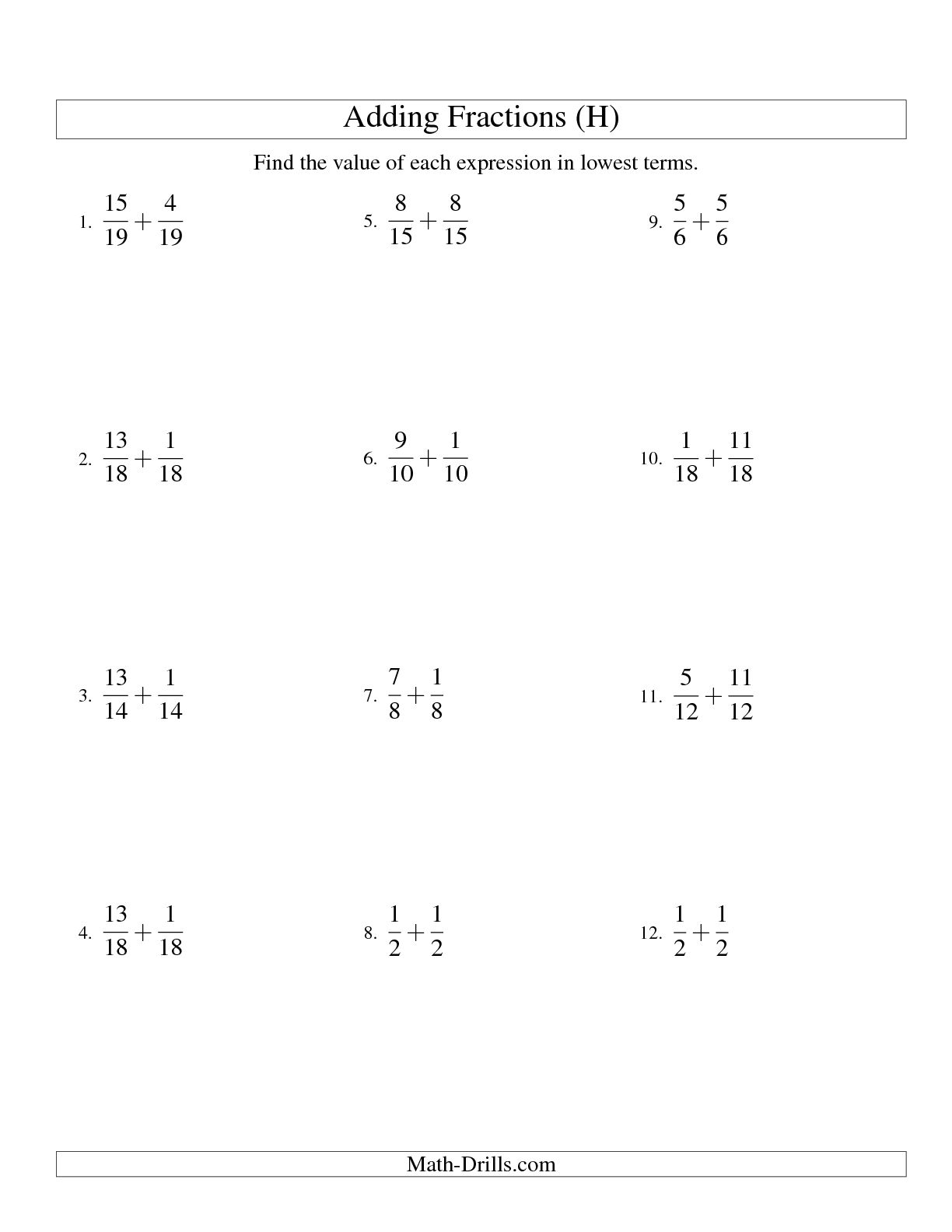 10 Best Images Of Adding Fractions Worksheets With Answer