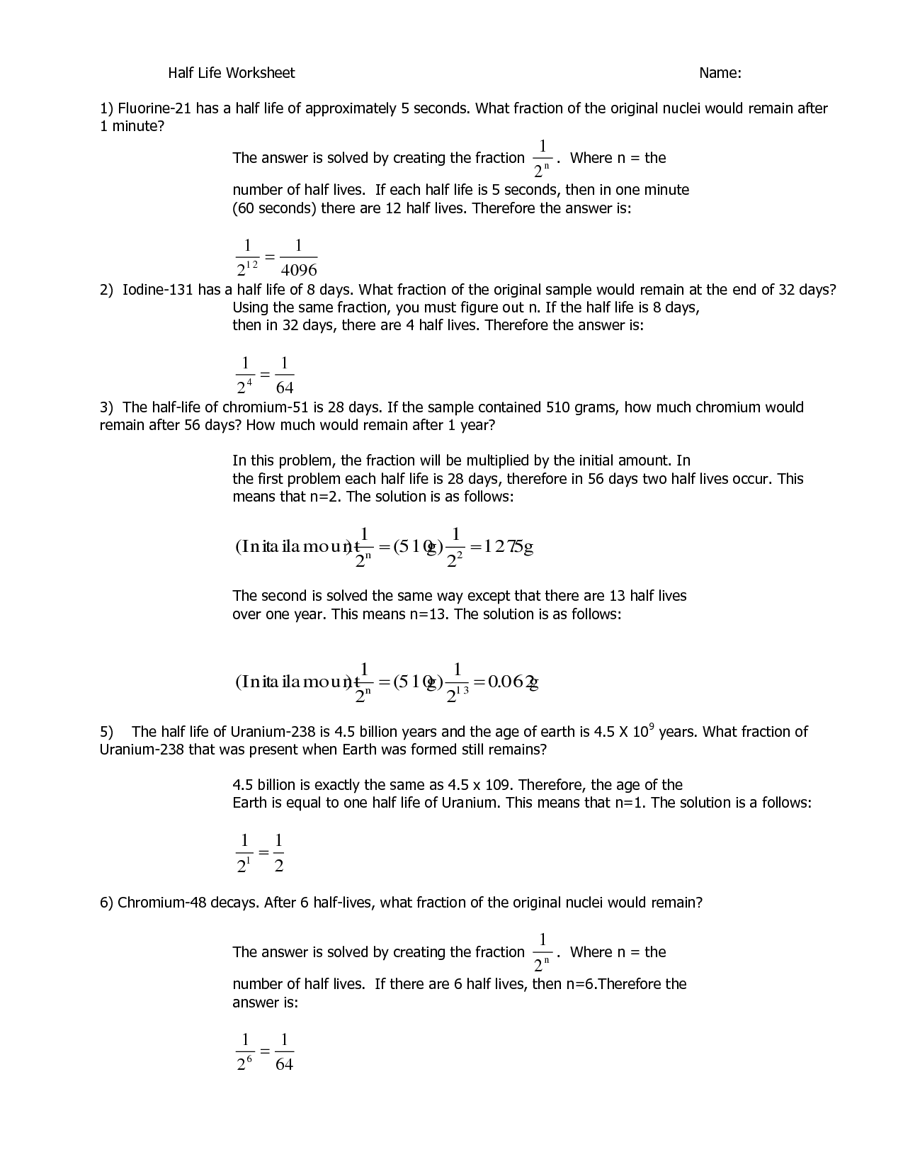 Half Life Calculations Worksheet Key