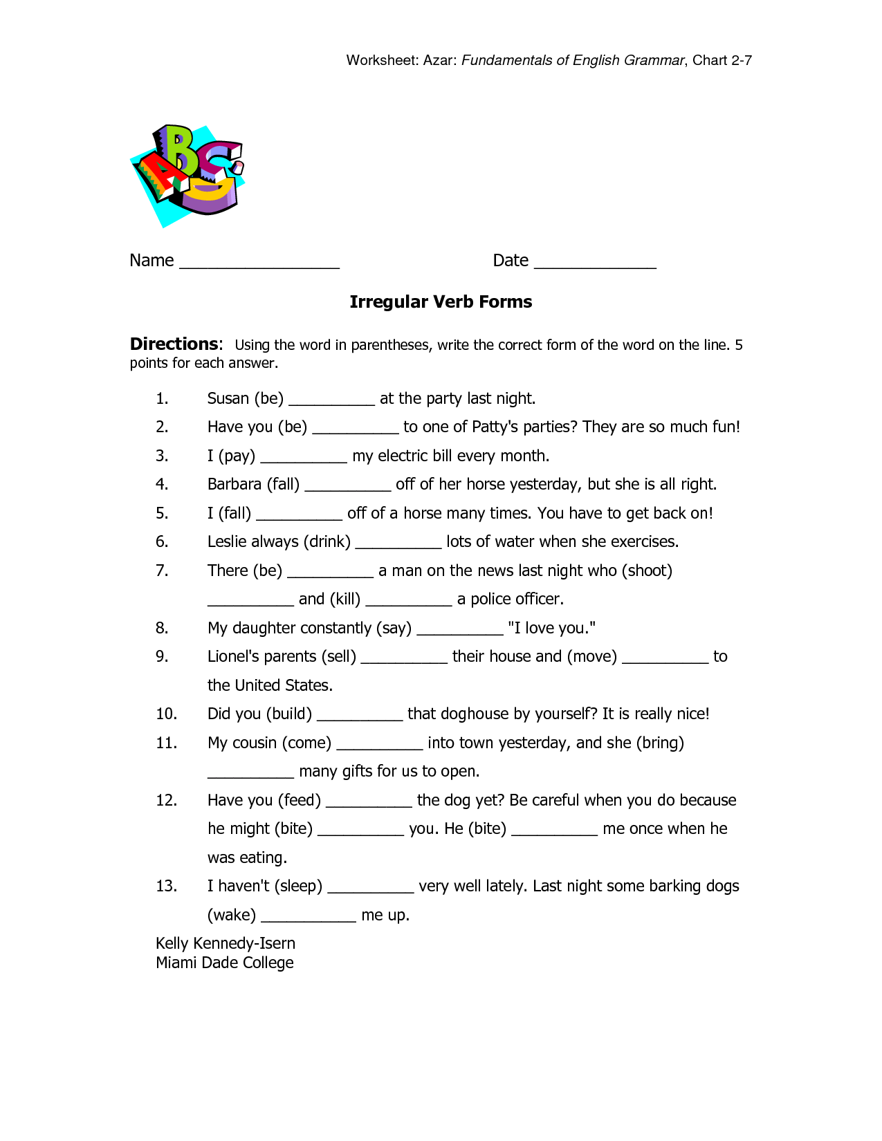 Worksheet On Tenses For Class 6