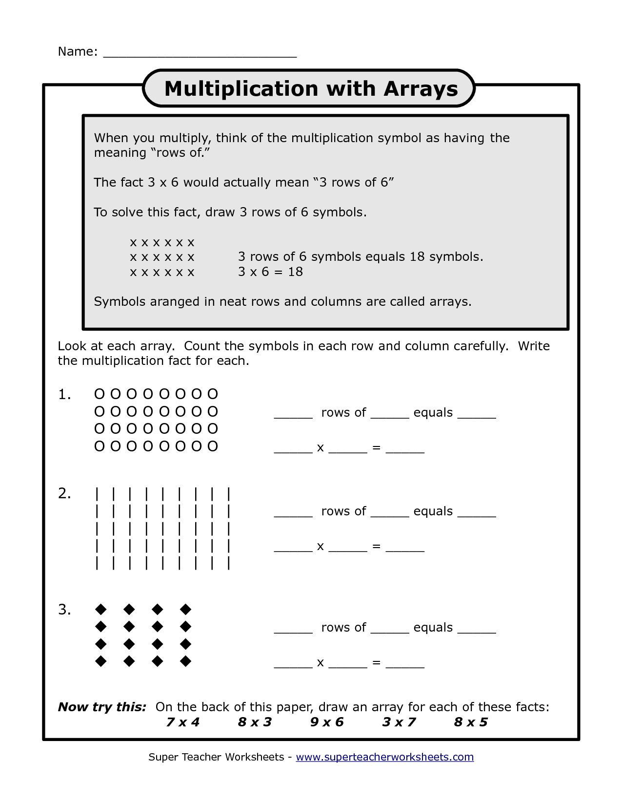 16 Best Images Of Multiplication Arrays Worksheets Grade 3