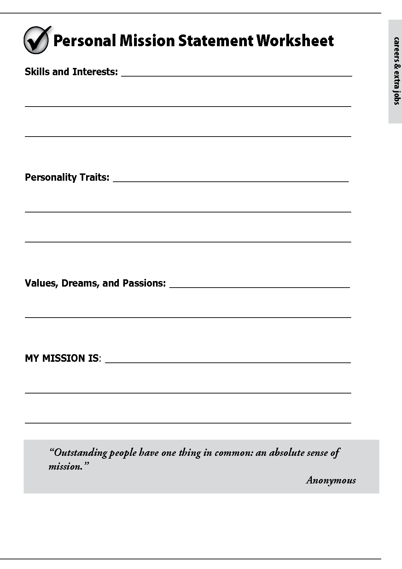 Personal Mission Statement Worksheet Free