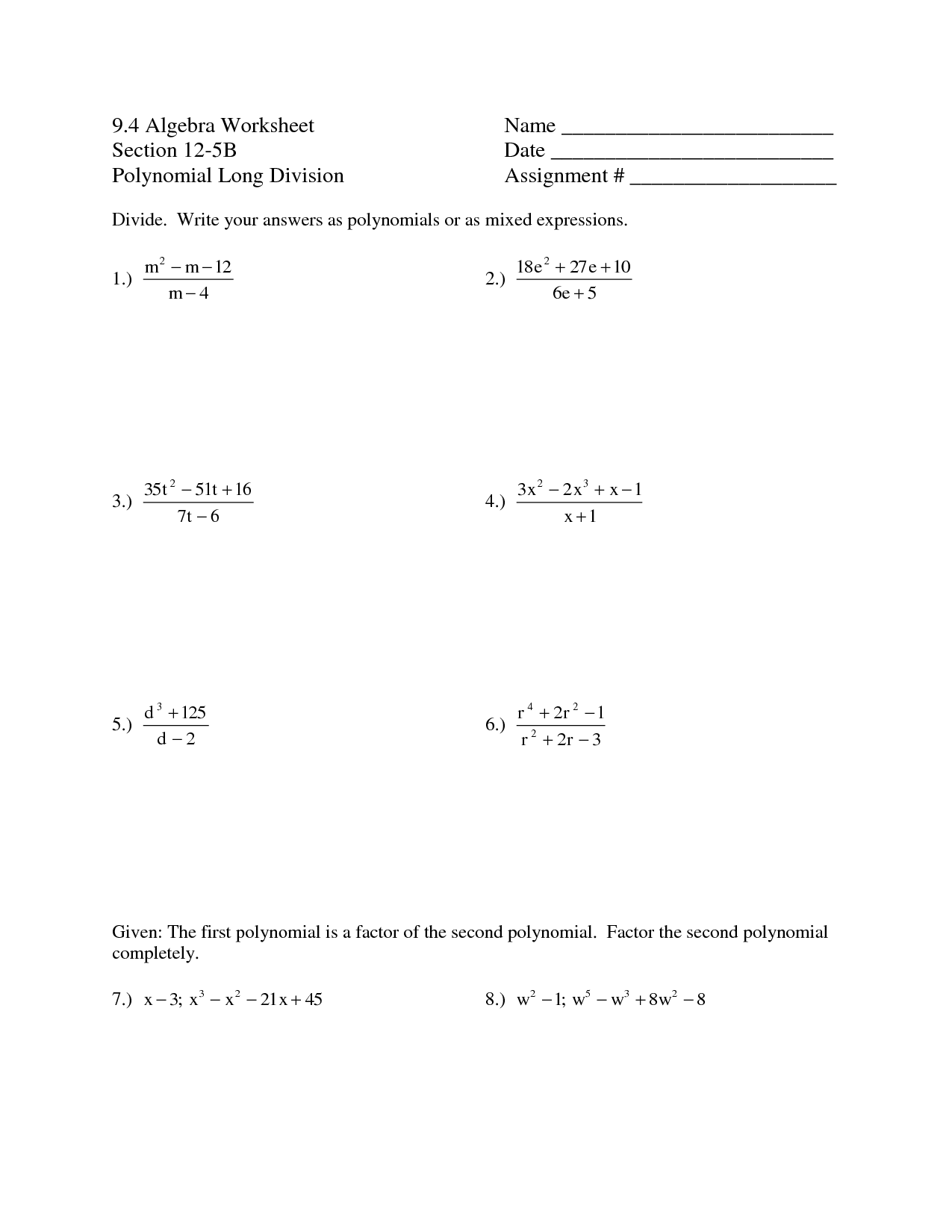10 Best Images Of Synthetic Division Worksheet