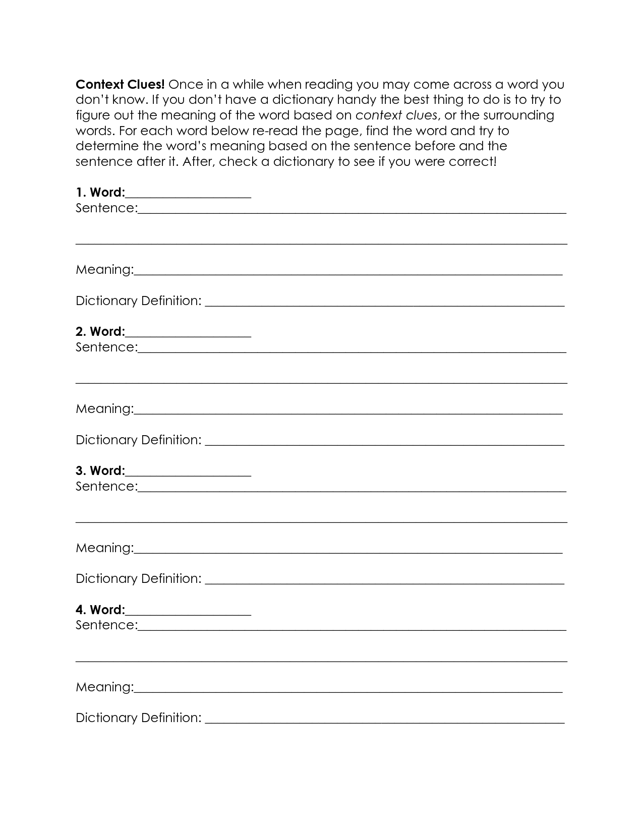 12 Best Images Of Context Clues Worksheet 6th Grade Printable