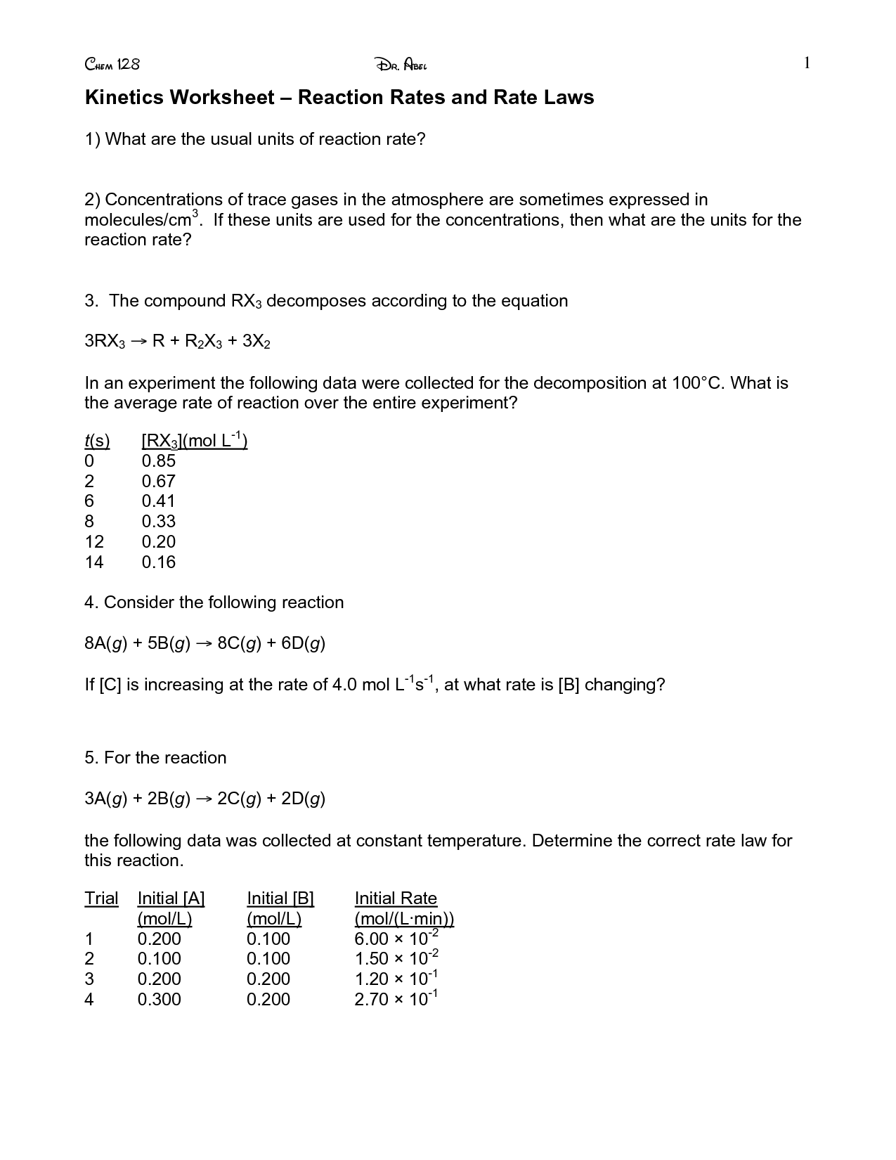 13 Best Images Of Worksheet Reaction Rates Answer