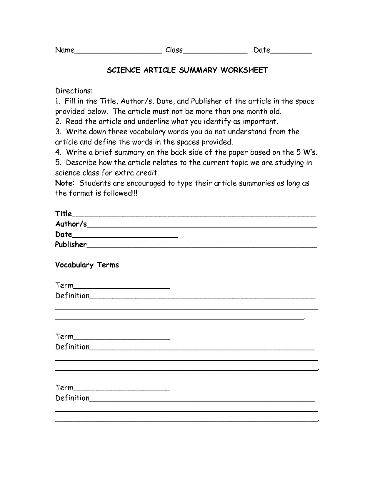 13 Best Images Of Sample Summary Worksheets
