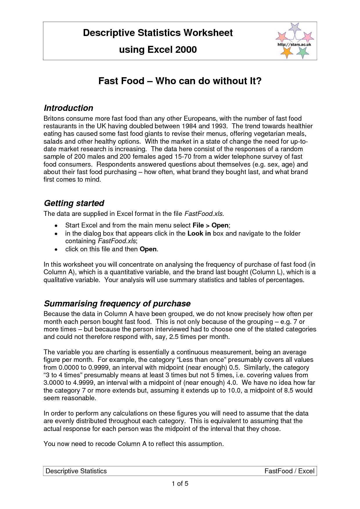 Food Menu Math Worksheets