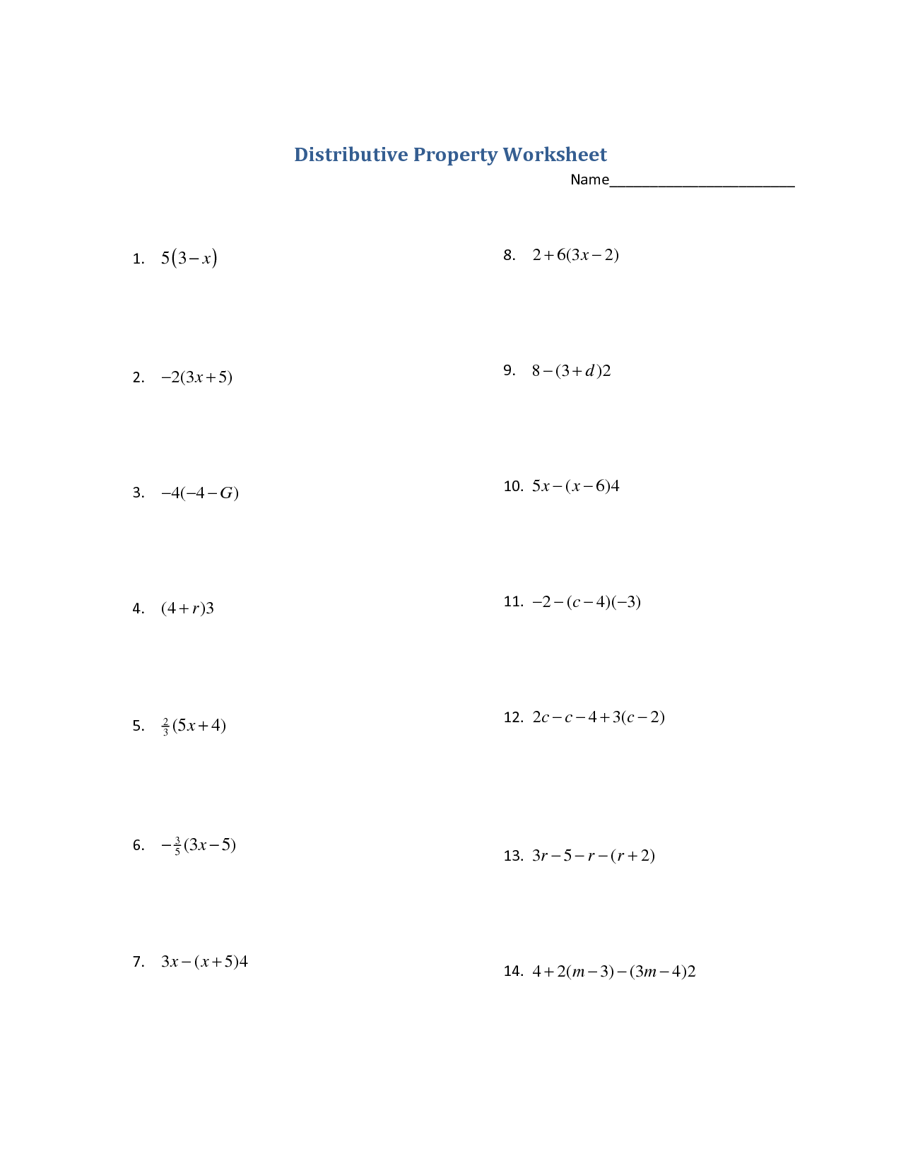 32 Solving Equations With Distributive Property Worksheet