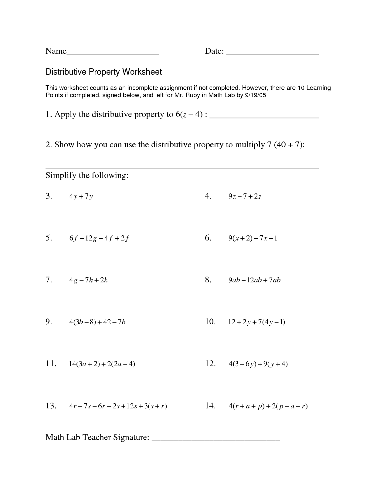 8th Grade Distributive Property Worksheet