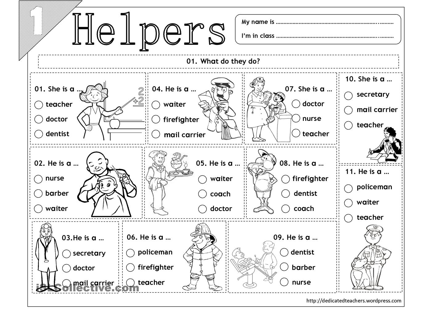 Matching Community Helpers Worksheets W Wp