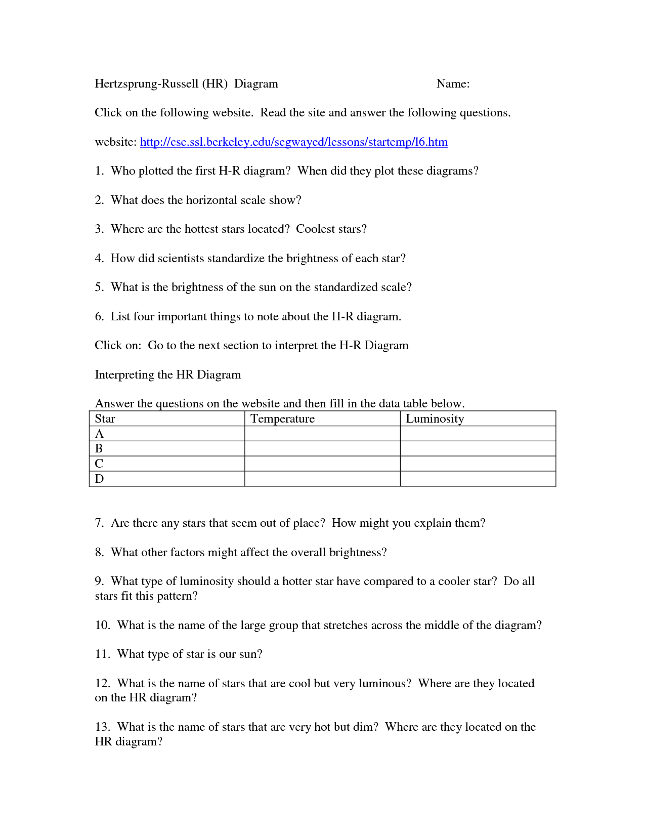 11 Best Images Of H R Diagram Worksheet Answers