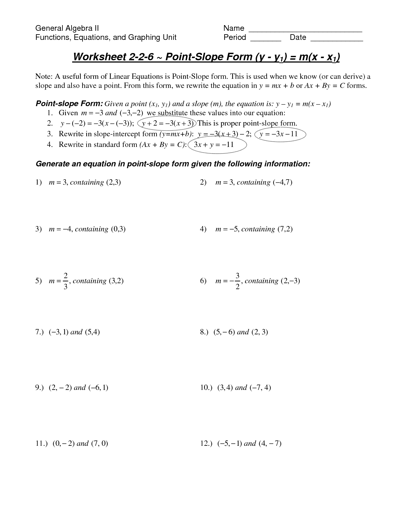 Slope Intercept Equation Worksheet