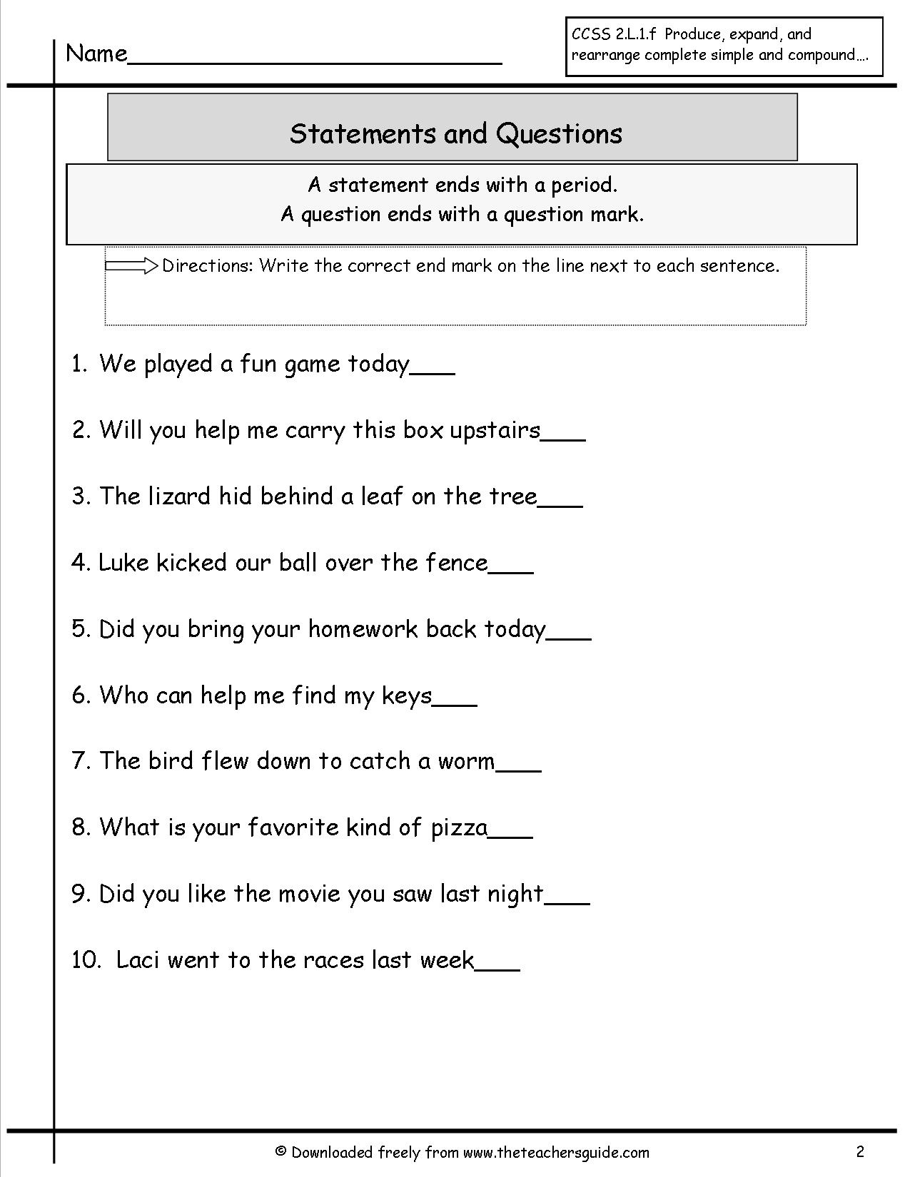 15 Best Images Of 2nd Grade Sentence Correction Worksheets