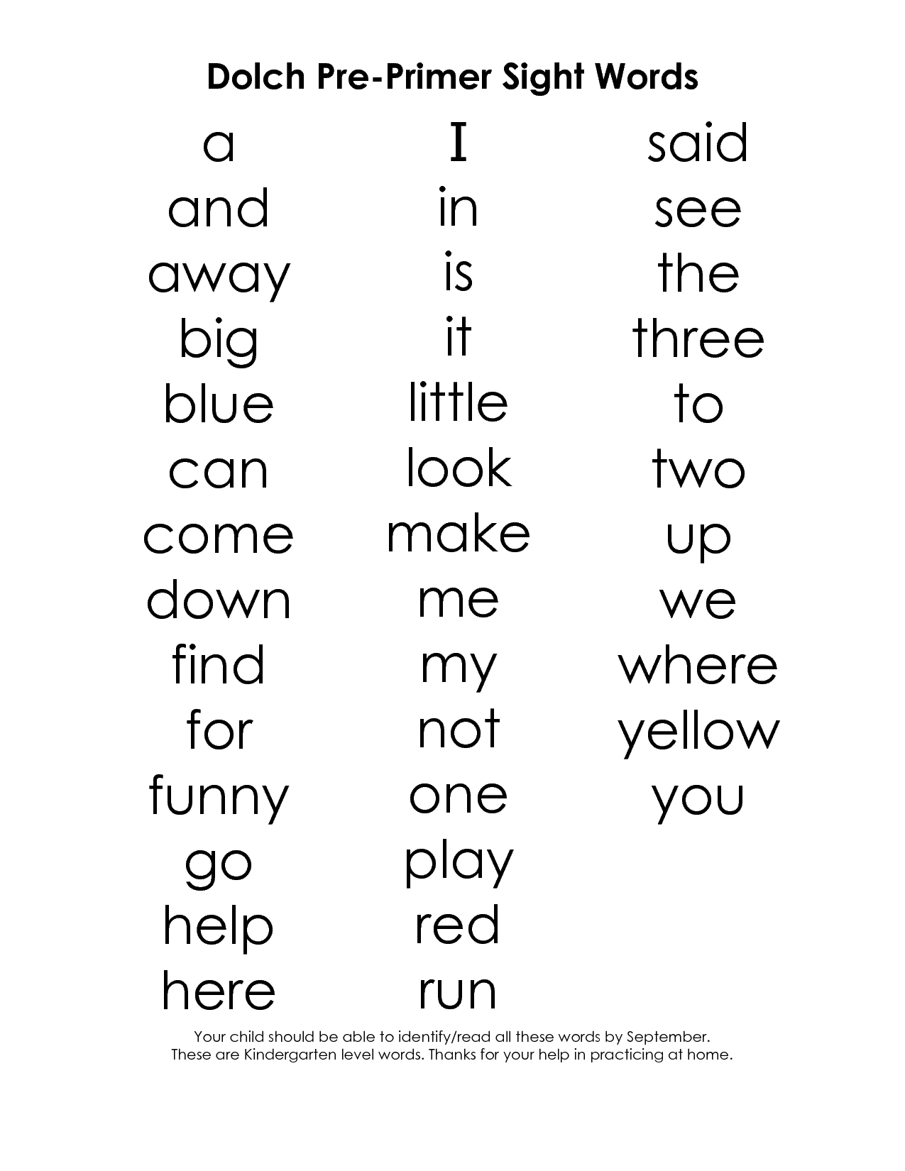 16 Best Images Of Pre Primer Sight Words Worksheets