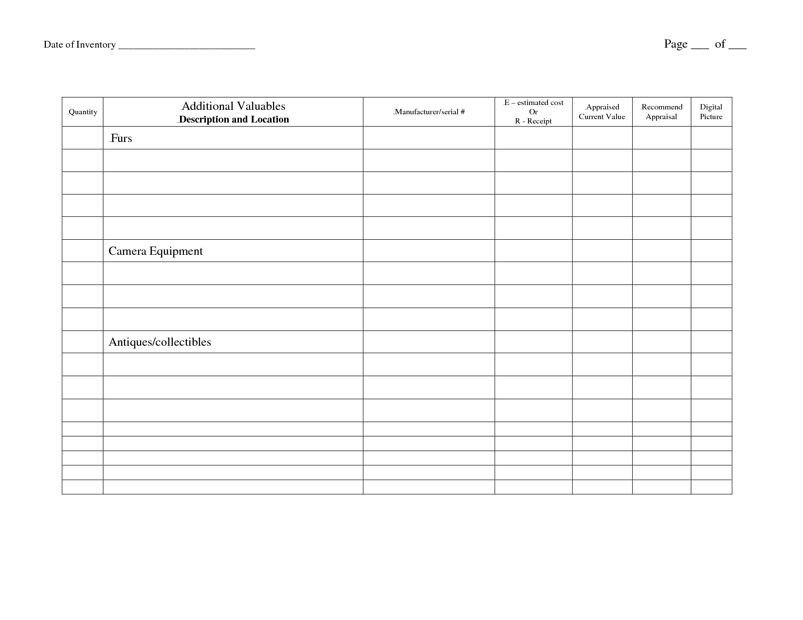 12 Best Images Of Food Inventory Worksheet
