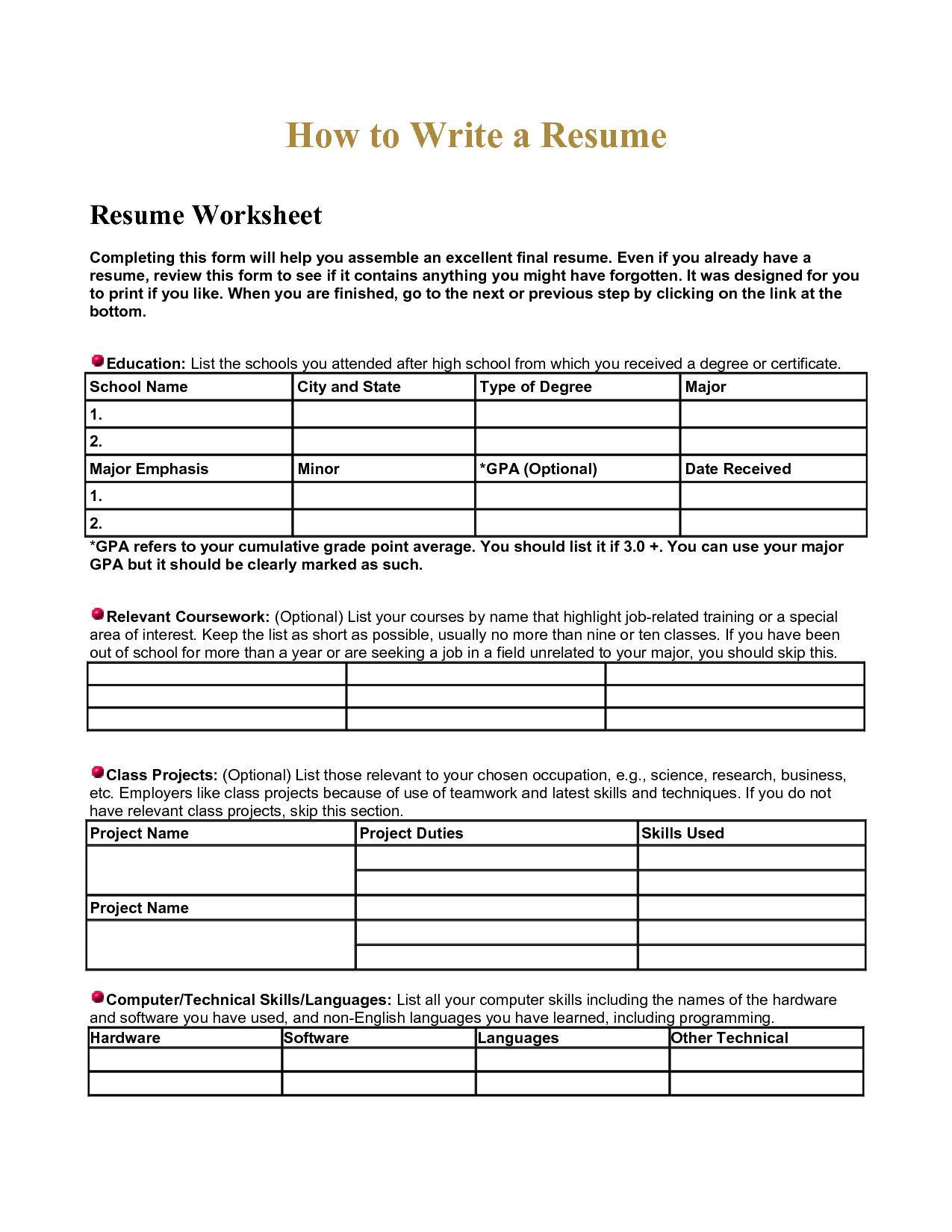11 Best Images Of Combination Resume Worksheet