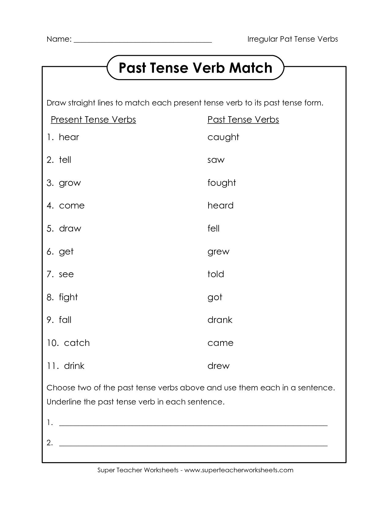18 Best Images Of Present Tense Worksheets 2nd Grade