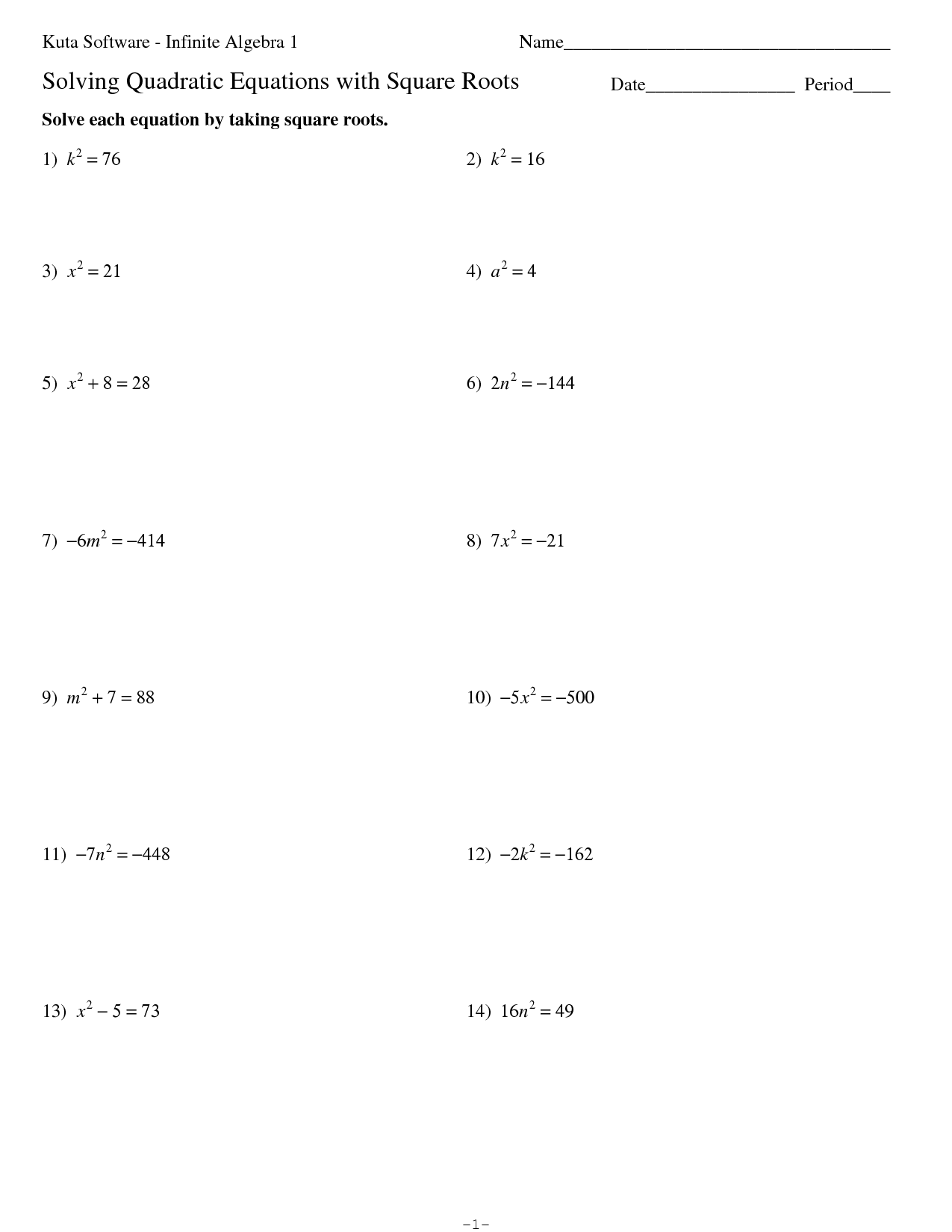 Math Square Root Equations Worksheet