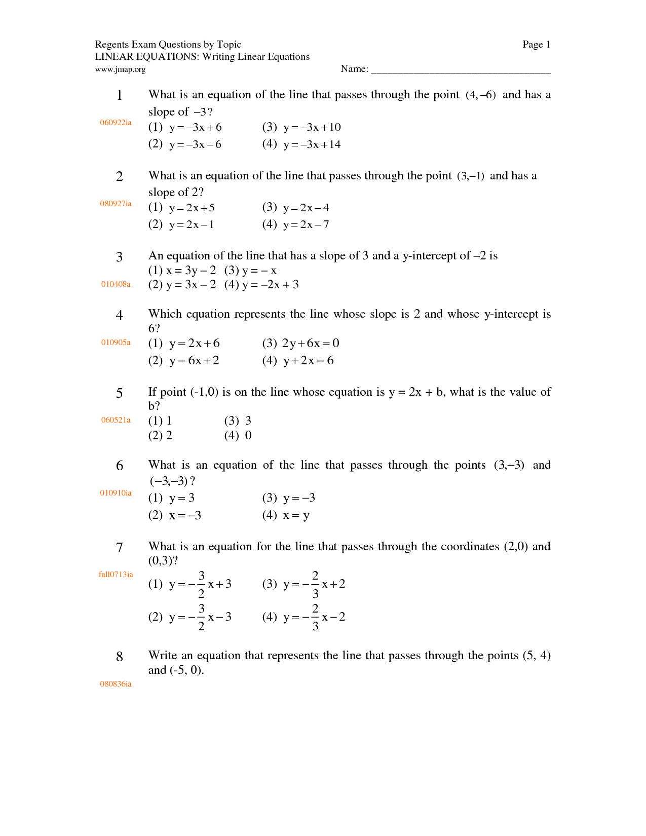 Worksheet Writing Linear Equations Worksheet Grass Fedjp Worksheet Study Site