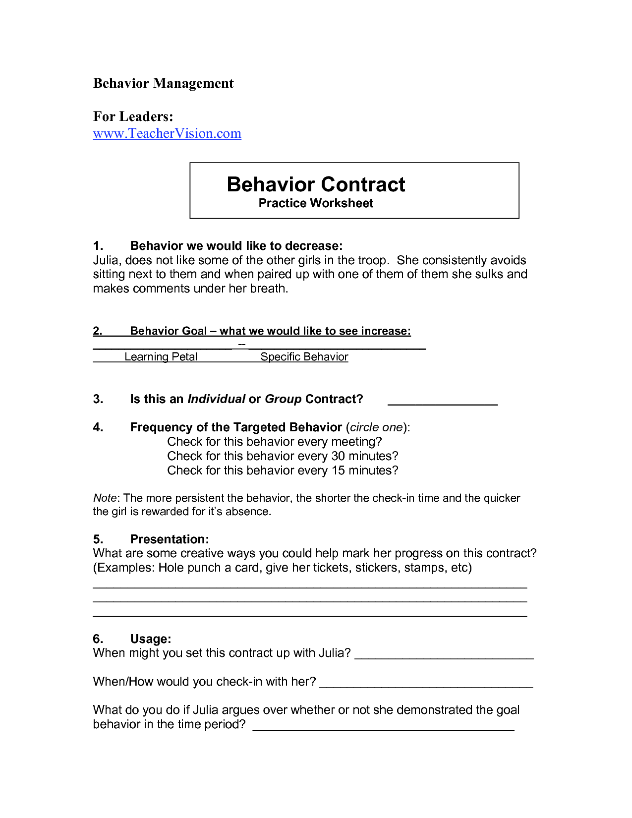 15 Best Images Of Worksheets Students Behavior Contract