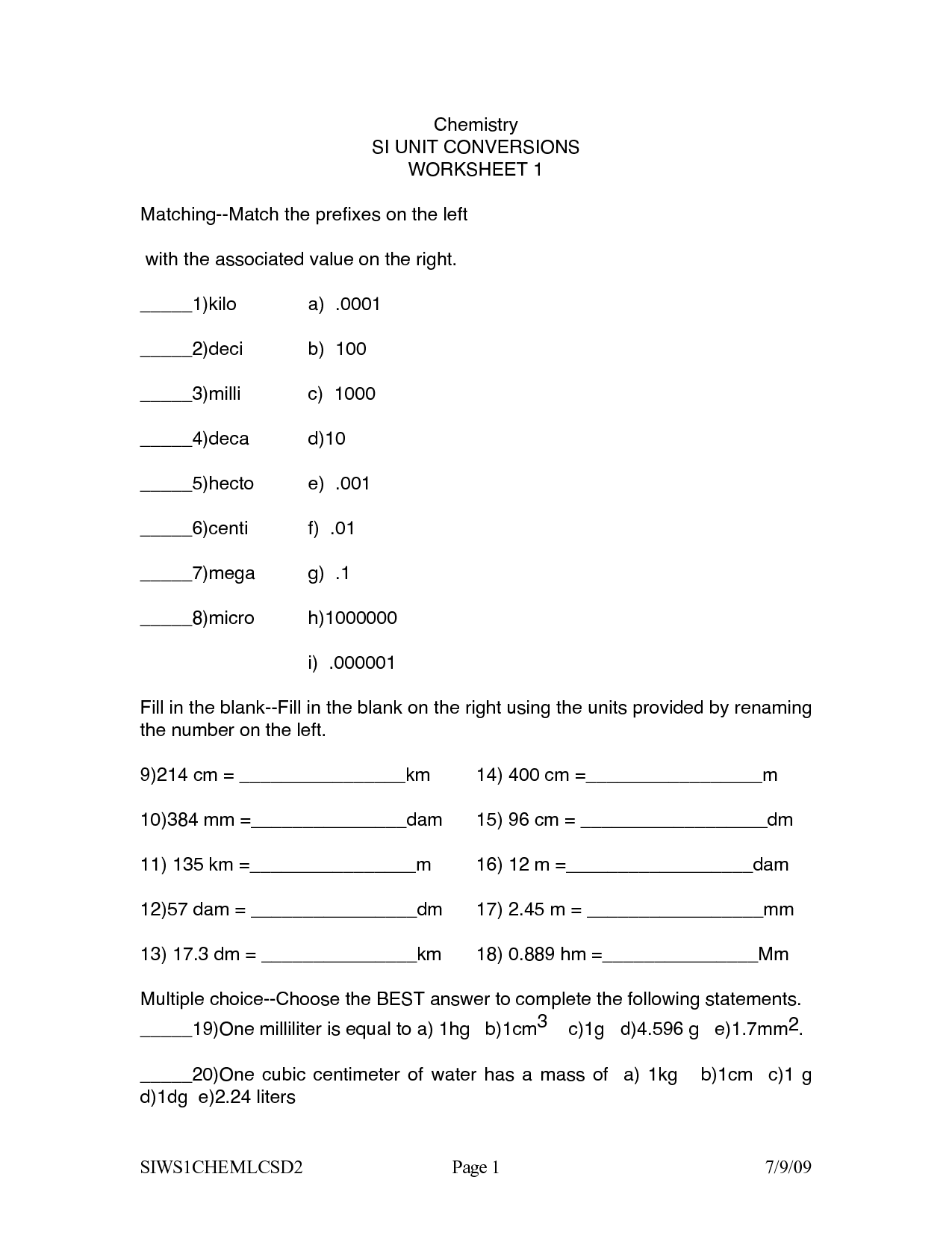 26 Chemistry Measurements And Calculations Worksheet