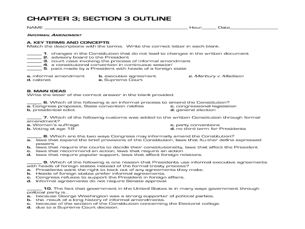 10 Best Images Of Constitutional Convention Worksheet
