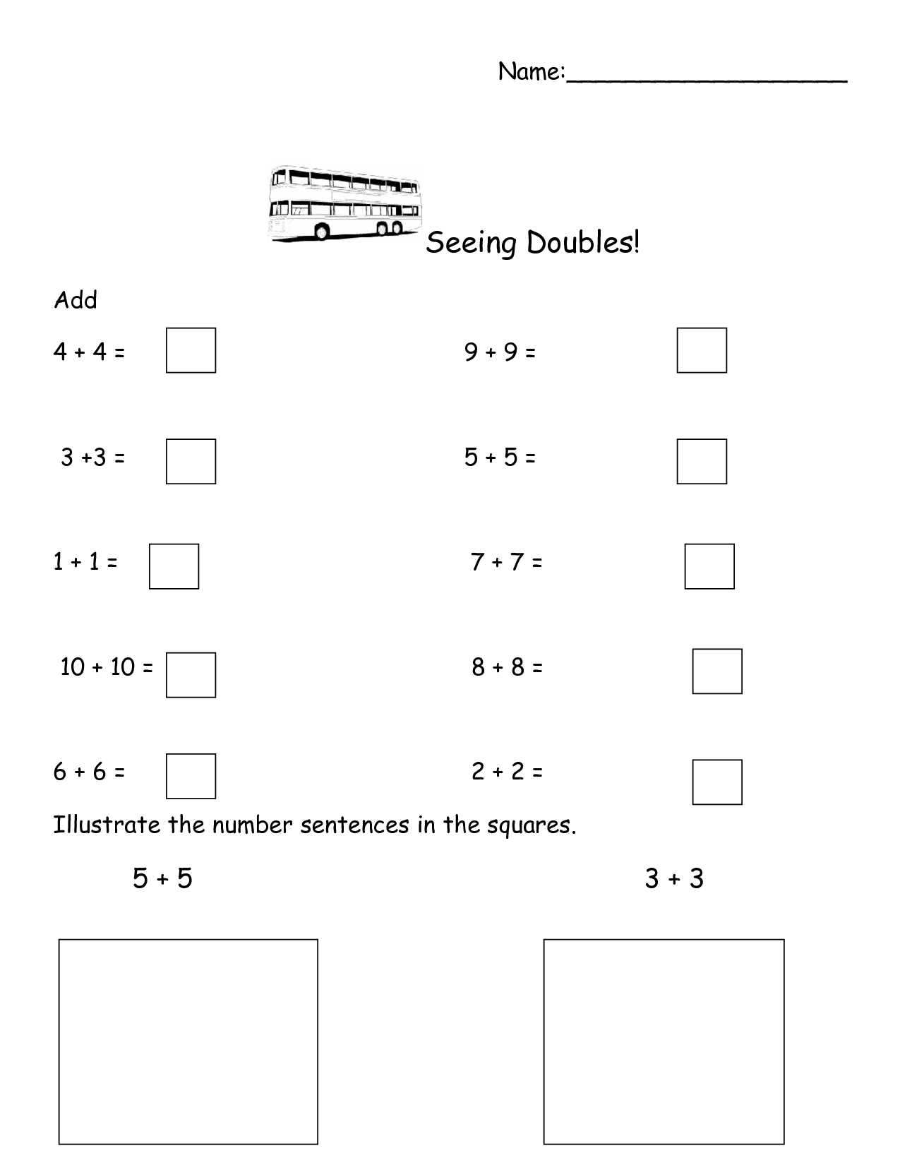 Doubles Plus One Worksheet For Math