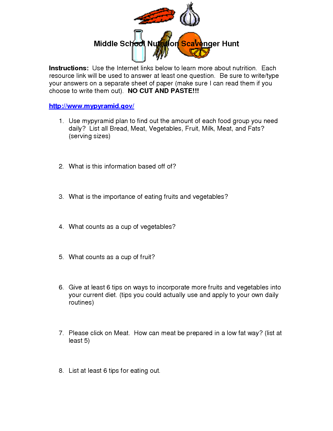 13 Best Images Of Nutrition Worksheets For High School